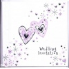 Lilac Hearts Wedding Invitation Pk6